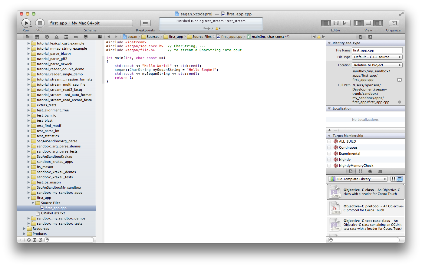 Getting Started With SeqAn On Mac OS X Using Xcode — SeqAn 1 4 2